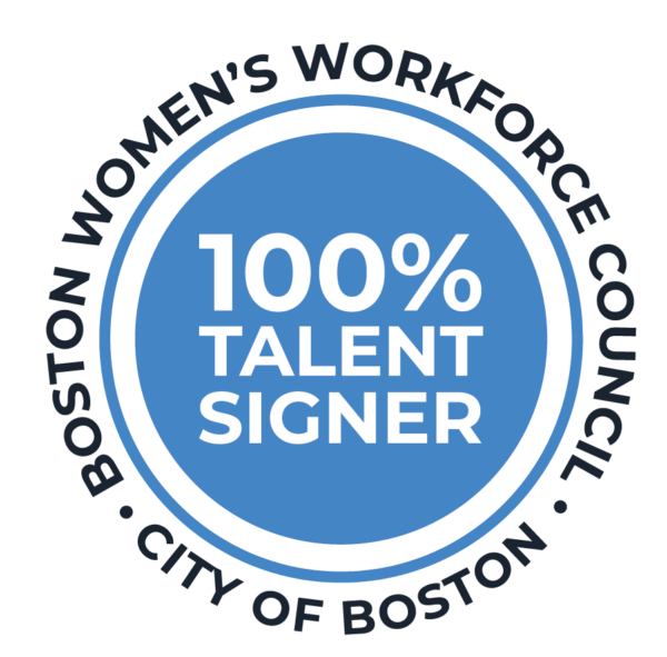 Circle with 100% Talent Signer in Middle and Boston Women's Workforce Council and City of Boston on the outside