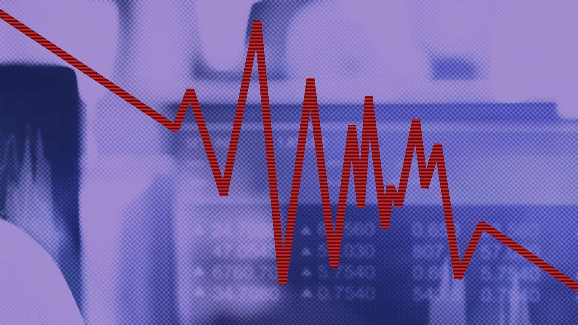 Image of a purple background with a red downtrend line