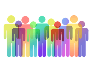 graphic of multicolored icon people