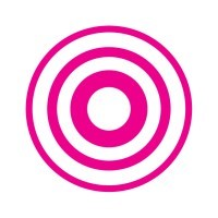 Adsonica logo: pink concentric circles on white background