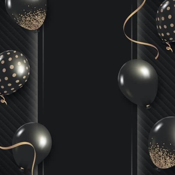 Image of black glittery balloons