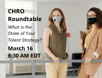 two women talking with info about a CHRO event on March 16 at 8:30am