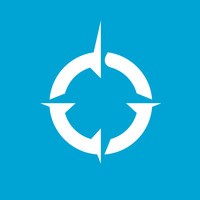 Franklin Covey logo: white compass on see blue background