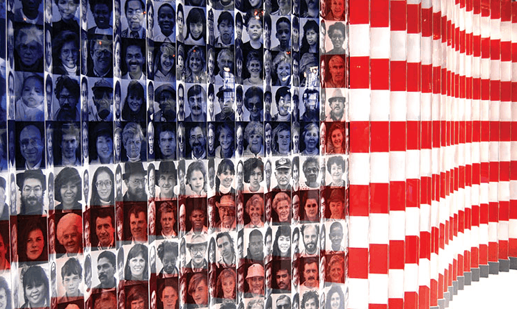 Wavy American flag with faded images of people of all ages, races, genders on left