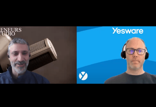 Split screen of Jonathan Freedman interviewing Joel Stevenson of Yesware.