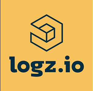 Logz.io logo. Blue open block with Logz.io in blue text, on orange background