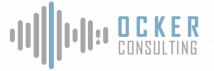 Ocker Consulting logo. Sound lines followed by company name