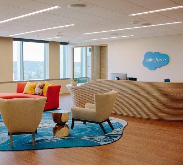 Salesforce lobby with logo on wall