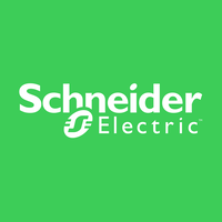 Schneider Electric logo: white words on lime green background