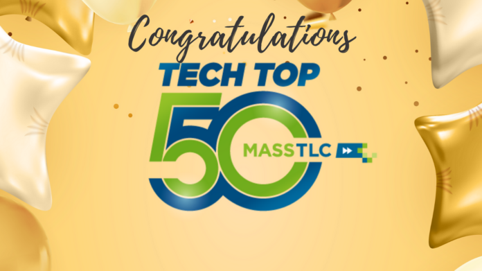 Congratulations and Tech Top 50 logo on yellow background with confetti and balloons