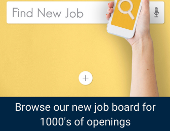 Hand holding phone with search symbol over box that says Find New Job. Text at bottom about new job board.