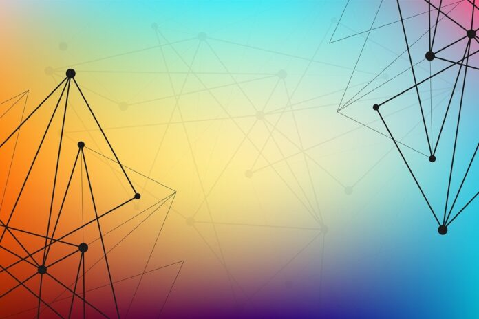 An abstract rainbow hued background with triangle and diamond shapes emerging from the bottom left and top right corners.