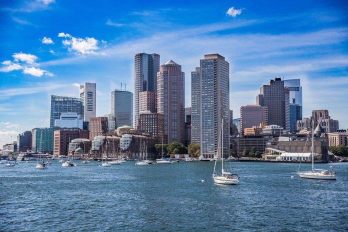 The Boston Harbor skyline on a sunny, clear day