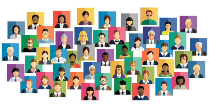 cartoon image showing different types of business people in boxes with different colored backgrounds