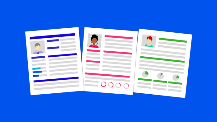 Graphic illustration of three different resumes on a blue background