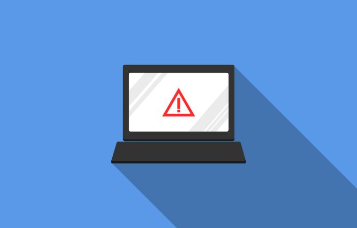 A graphic of a laptop computer with a red exclamation point alert on the screen