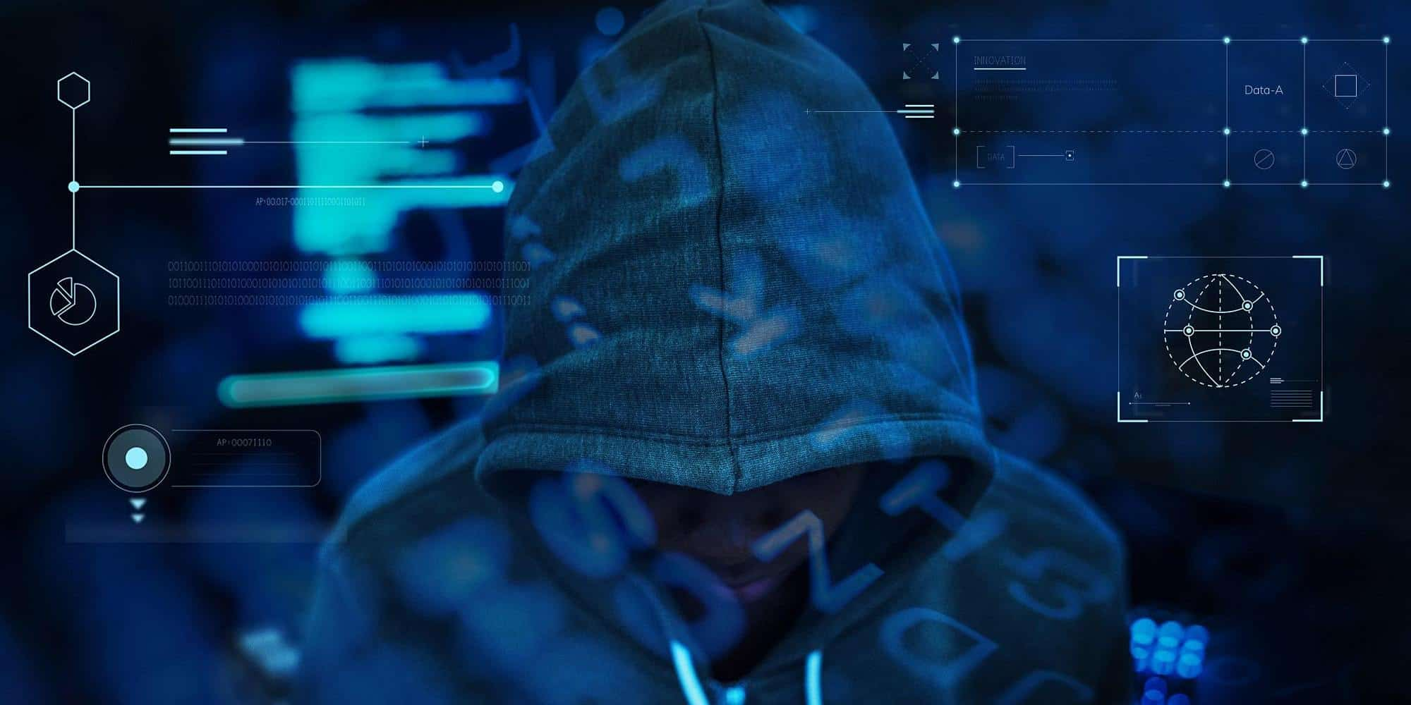Image of the back of a person wearing a hoodie sweatshirt and computer graphics