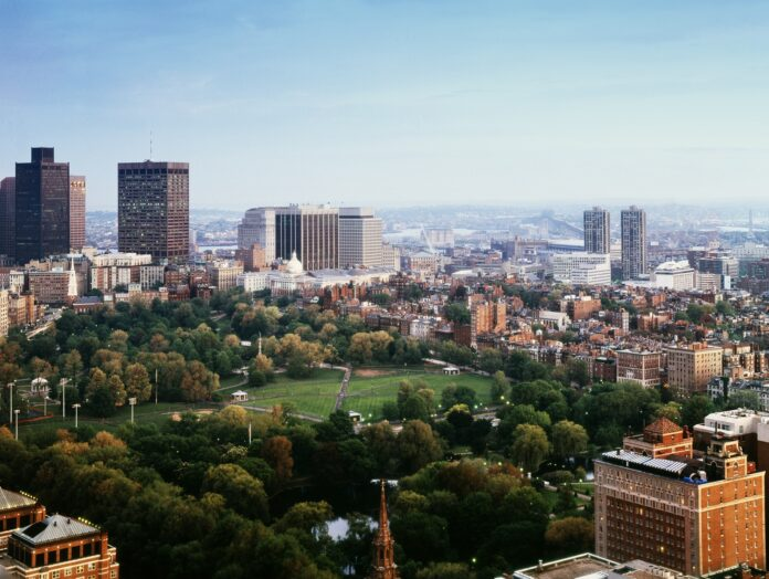 Boston Common, viewed from above
