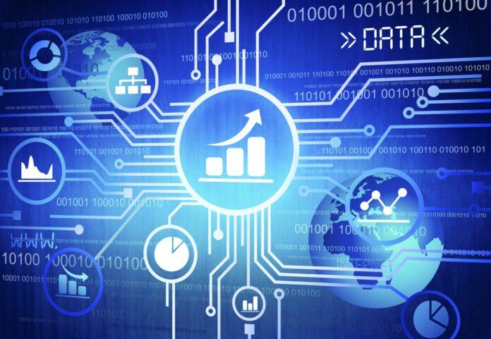 Circuit board and icons denoting cloud computing