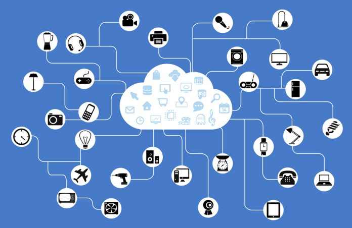 Image of cartoon internet of things connecting to a cloud