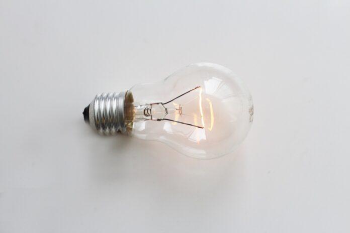 A lightbulb lies on its side