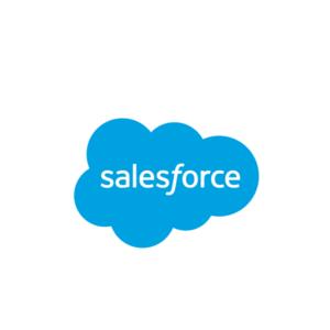Salesforce logo: word Salesforce in blue cloud