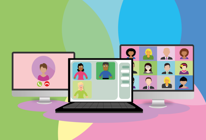 Image of three cartoon screens with people in webinar style boxes